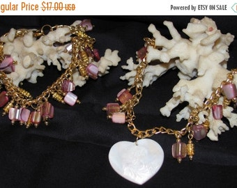 Pink Mother of Pearl Necklace & Bracelet (S032)