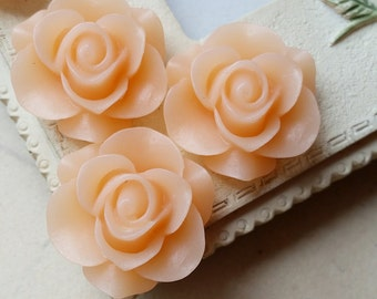 21 mm Peach Colour Rose Resin Flower Cabochons (.am)