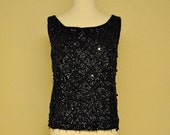 ON SALE Black Vintage Fully Beaded Tank Blouse - Formal Top Great with Cigarette Pants or Pencil Skirt Size M L