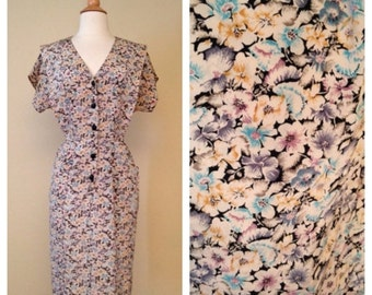 CLEARANCE Vintage 80s Does 50s Floral Shirt Waist Dress - Short Sleeve Knee Length - 1950s Style Button Up Size Large