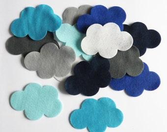 Felt cloud, 14 pieces, pre cut felt shape, blue cloud, Scrapbooking Supply, Party Supply