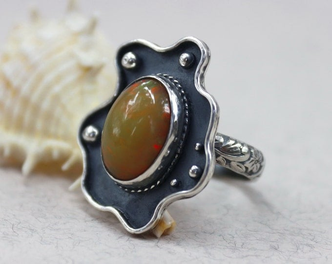 Ethiopian Opal Ring Silver Opal Ring Natural Opal Ring Opal Jewelry Gift for Her Silver Ring Welo Opal Ring Size 8 Ring October Birthstone