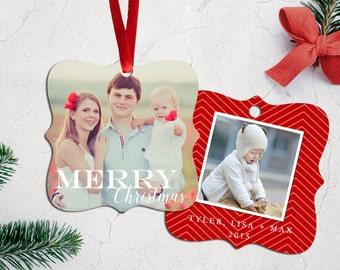 Personalized Photo Christmas Tree Ornament - Double Sided with Ribbon - Charming
