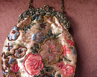 SALE***Satin Bag with Glass Beaded Flowers.  Fancy Brass Embossed Frame.Was 95.00 NOW***