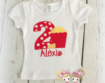 Popcorn birthday shirt- movie themed birthday shirt - red popcorn birthday shirt for girls - movie birthday shirt - movie popcorn theme