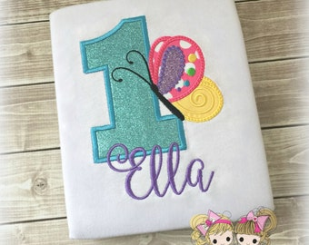 Butterfly Birthday Shirt - Rainbow Butterfly - Custom Embroidered birthday shirt - girls birthday shirt - Any age - Girls Birthday Shirt