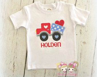 Boys Valentine's Day shirt - dump truck with heart - 1st Valentine's Day shirt for boys - blue and red dump truck - embroidered boys shirt