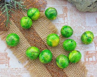 Large Green Apple Clay Beads, Sparkling Lime Green and Sunny Yellow Blend, Polymer Clay Item, Unique Beading Supplies