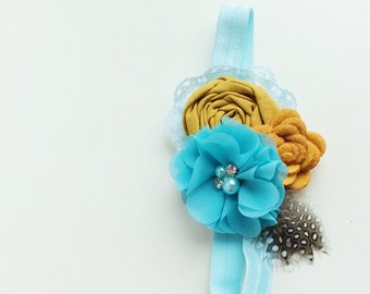mustard yellow blue baby headband girl headbands toddler headband matilda jane headband persnickety m2m headband Vintage headband