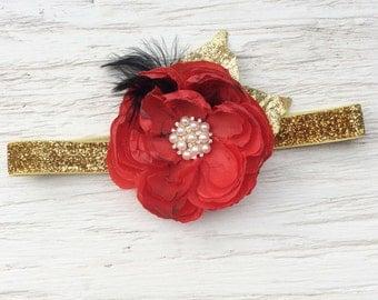 Red gold black baby girl headband toddler headband flower headband matilda jane m2m flower infant newborn headband