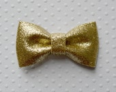"Gold Glitter Bow. Metallic Gold Bow. 2.75"" . 1 Bow"