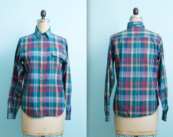 vintage 80s blue green red plaid button down shirt / womens size 8 / small to medium