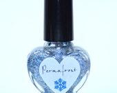 Permafrost Silver Foil and Blue Glitter Nail Polish 5ml Mini Bottle