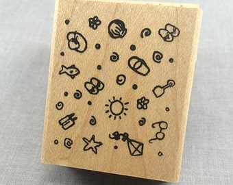 Beach Background Rubber Stamp