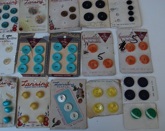 Vintage  buttons on 16 cards