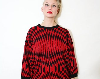 ON SALE Vintage Op Art Illusion Metallic Red and Black Sweater