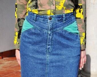 ON SALE Vintage 80s Denim Pencil Skirt