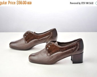ON SALE Vintage 40s Brown Leather and Suede Lace Up Shoes / Preppy Oxford Heels Size 6