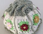 ON SALE - 10% OFF Crochet Granny Square.bag..  Handmade art purse...photo prop.pouch..