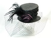 Tophat asymetric black Gothic Funeral Steampunk Ladies Hat Fascinator Bibi Chapeau Victorian Costume Gothic Burlesque dark Formal Church Hat