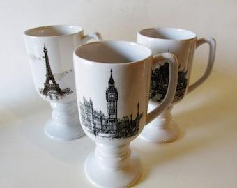 Five Global Mugs, Eiffel Tower, Pisa, Big Ben, International Coffee Mugs, Ironstone Mugs, 1965, Kaysons Landmark Mugs