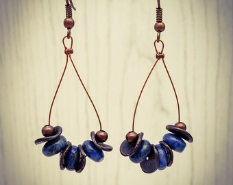 Copper Lapis Lazuli Lilypad Oval Hoop Tiger Tail Earrings  [E93]
