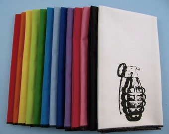 NAPKINS - super soft eco friendly reusable napkins - you choose how many - with GRENADE print on any of my thirteen colors