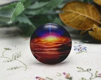 4pcs 25mm Round Handmade Photo Glass Cabochon - Space