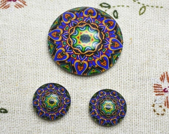 5 Sets 25mm + 12mm Round Handmade Photo Glass Cabochon For Necklace and Earrings - Flower