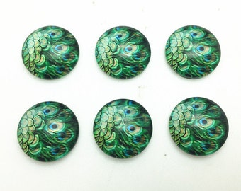 10pcs Mixed 16mm Round Handmade Photo Glass Cabochons - Peacock Feather