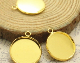 6pcs 20mm High Quality Gold Plated Brass Cameo Cabochon Base Setting Charm Pendants LB101-5