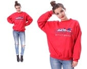 Vintage 1980s SWEATSHIRT . Womens Sweater Duck Print Embroidered Winter Cozy Cotton Red Unisex Jumper 80s Pullover . Large
