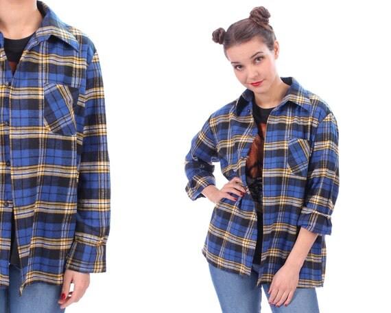 Plaid flannel shirt 80s vintage nirvana flannel lumberjack for Mens yellow plaid flannel shirt