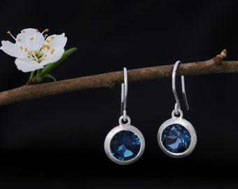 London Blue Topaz Earrings - Drop Earrings - Dark Blue Gemstone Earrings - Blue Topaz Lollipop Design Earrings - Free Shipping