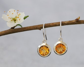 Citrine Drop Earrings - Yellow Gemstone Dangle Earrings - Citrine Silver Earrings - Round Citrine Drop Earrings - Made to Order Earrings