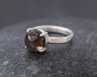 Smokey Quartz Ring - Smokey Quartz Cabochon Ring in Sterling Silver - Smokey Quartz Cocktail Ring - Dome Ring - Made to Order
