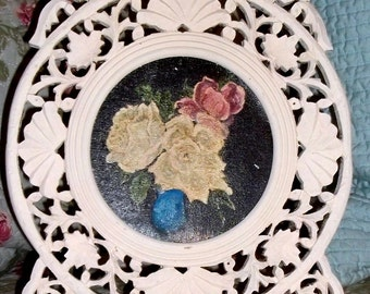 40% Off, Vintage, ornate Table Frame, hand painted, roses, wood frame, painted frame, shabby chic, cottage,