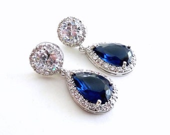 Wedding Bridal Earrings Halo Dark Sapphire Blue Pear Shaped Cubic Zirconia  (Clear Back) Round Stud White Gold Plated Earrings