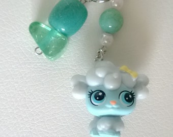 Littlest Pet Shop Blue Poodle Puppy Dog with Blue Beads Keychain Bag Purse Charm LPS Kawaii Cute Girl Teen Ooak Gift Toy Animal