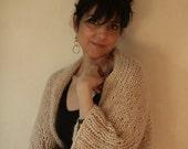 Cardigan Alpaca Blend Knit Open Sweater Cocoon Sweater Cozy Knit