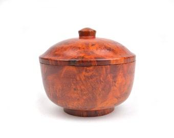 """Vintage Amboyna Burl Wood Lidded Bowl 4.5"""""""