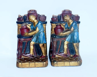 Set Vintage Chalkware Bookends 2 Book Heavy Plaster Hand Painted Very Unusual Medieval Potter Chalk Ware End Design