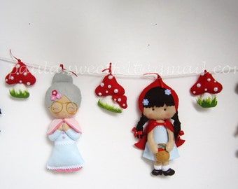 Little Red Riding Hood garland / granny / woodland man / big bad wolf / nursery decor / party decor
