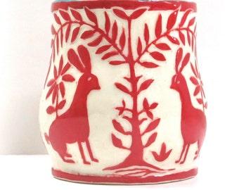 Sgraffito Otomi-Style MUG Hand Built - 2 BUNNIES Rabbits, Carved Design, Trees Flowers Birds, Folk Lore Inspired