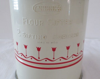 Vintage Androck Red Tulip Flour Sifter