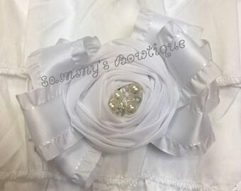 White large rose center hair bow!