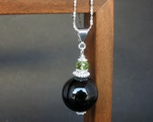 Natural Black Tourmaline 14mm Round Ball Pendant, Peridot Faceted Rondelle Pendant, 925 Sterling Silver, Ball Shape Pendant, Peridot Pendant