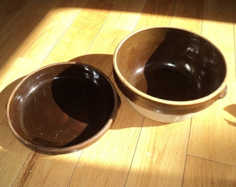 Antique Rare Pure Food Cooking Ware  Pottery Set with brown glazed bowl and pie pan that sits on top of each other  in Very Good Condition