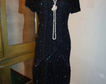 GATSBY WAS RIGHT!, Vintage Black Silk Beaded Dress in Good Condition, Size M, 1920 Style Era Gown with great lines and design, Made in India