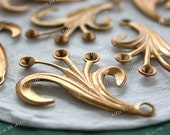 Raw Brass Leaves, 33 x 22mm Vintage Style Leaf Stampings, DIY Wedding Brass Tiara Headpiece Wreath Supplies, Made in USA ~ STA-226